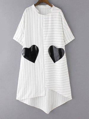 Vestido A Rayas Con Faldas Irregulares Con Parche De Bolsillo - Blanco M