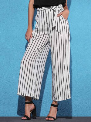Side Knot Stripe Wide Leg Pants - White L