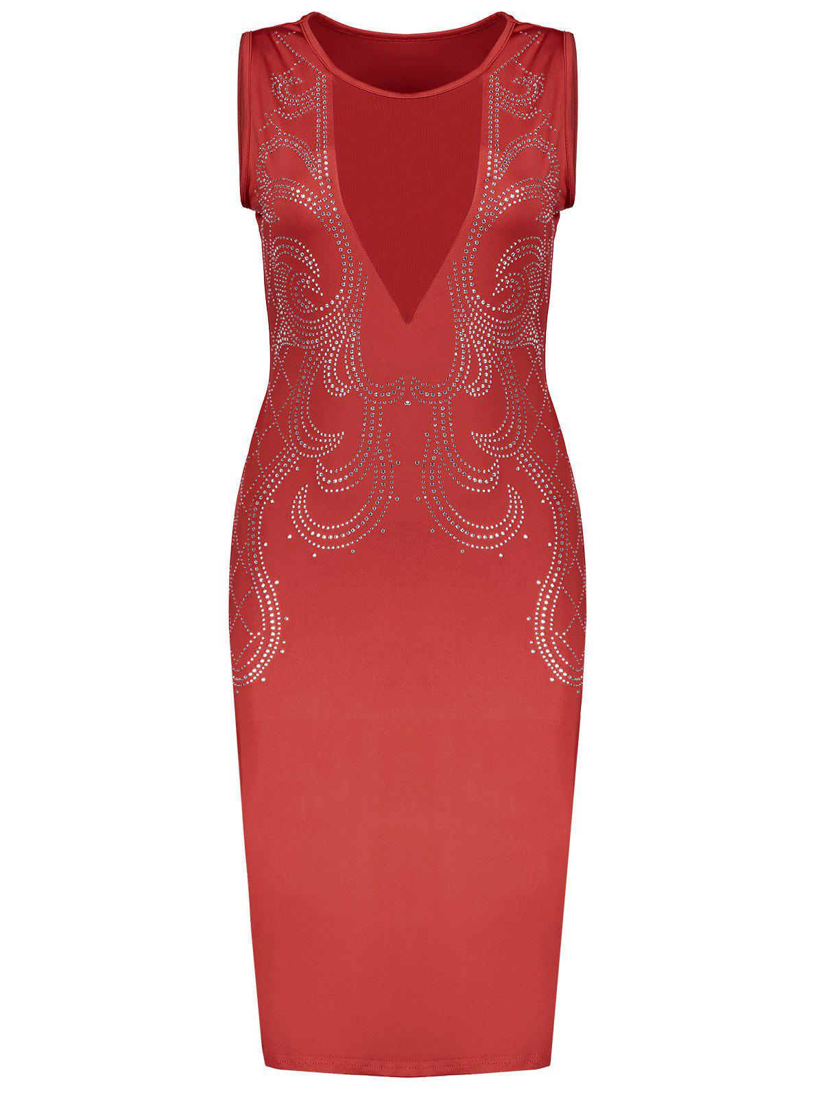 Tight Formal Low Cut Mesh Sequined Bodycon Dress 208239407