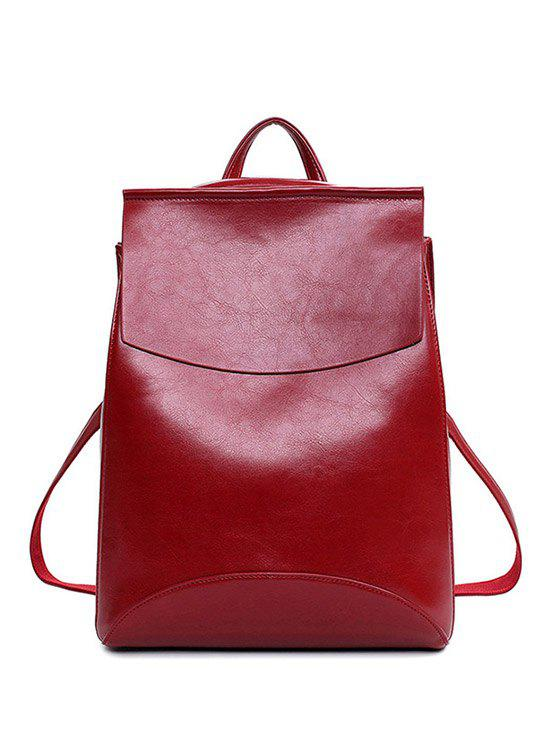 PU Leather Cover Solid Color Satchel - WINE RED