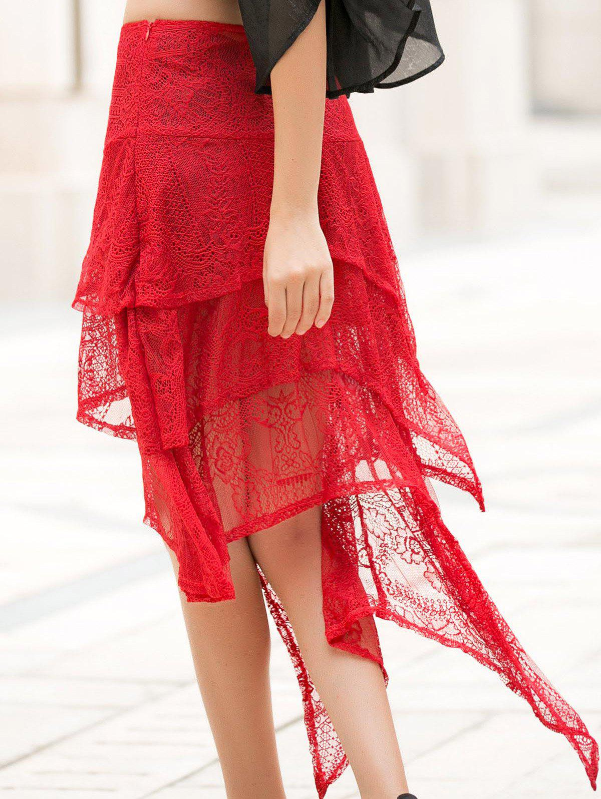 Asymmetric Solid Color Lace Skirt