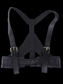 فو الجلود حزام الحمالات - أسود