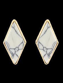 Boucles D'oreilles  Artificielle Géométriques En Turquoise  - Blanc