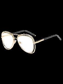 الحافات المزدوجة عدسة شفافة الطيار النظارات الشمسية - ذهبي