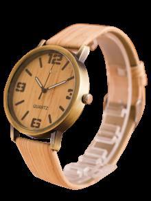 Artificial Cuero Leñoso De Reloj De Cuarzo - Blancuzco