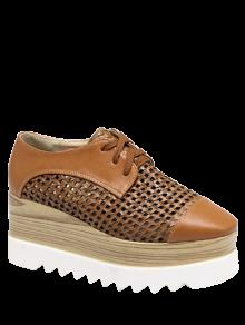 Hollow Out Lace-Up  Platform Shoes - Light Brown 37