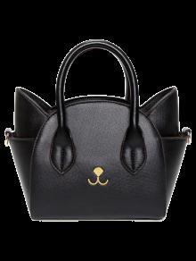 حقيبة كبيرة توتس على شكل القط بلون الصلبة - أسود