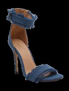 Buy Denim Ankle Strap Stiletto Heel Sandals - LIGHT BLUE 37
