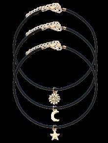 Collier Ras Du Cou Velours étoile Lune Soleil - Noir