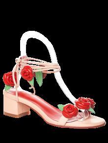 Rose Con Cordones De Las Sandalias De Tacón Chunky - Rosa 38