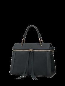 Buy Zip Around Faux Leather Handbag - BLACK