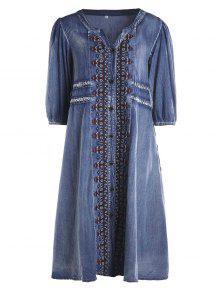 Drawstring Tribal Button Up Denim Dress - Blue S