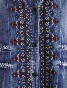 0de607ab3c 33% OFF  2019 Drawstring Tribal Button Up Denim Dress In BLUE