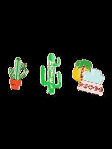 Ensemble De Broches En Forme De Cactus De Cocotier Et De Hôtel - Vert