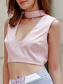 Pure Color Plunging Neck Sleeveless Crop Top - Nude Xl