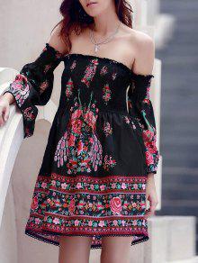 Off-The-Shoulder Printed Dress - Black M