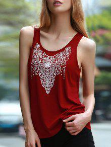 Cut Out Totem Print Jewel Neck Sleeveless Tank Top - Wine Red 2xl