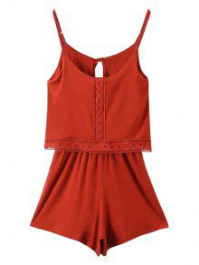 Lace Band Collarless Braces Playsuit - Red Xs