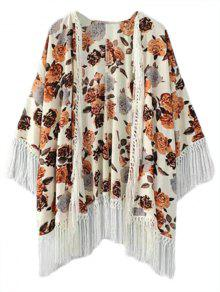 Fringe Floral Print Collarless 3/4 Sleeve Kimono Blouse - Brown S