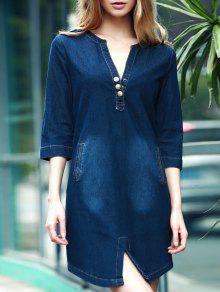 V-Neck 3/4 Sleeve Denim Dress - Blue Xl
