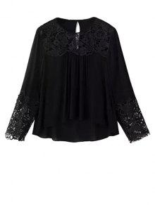 Lace Splicing Round Neck Long Sleeve Blouse - Black L