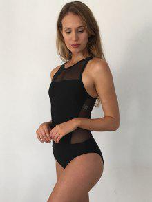 1a1ecf760e 12% OFF] 2019 High Neck Mesh Panel Backless Transparent Swimsuit In ...