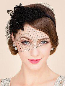 Black Lace Veil Cocktails Headband Hat - Black