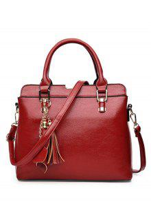 Buy Pendant Solid Color PU Leather Tote Bag - WINE RED
