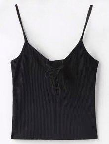 Solid Color Cami Lace Up Tank Top - Black M