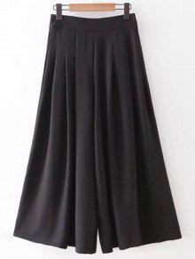 Los Bolsillos De Cadera Color Sólido Culotte - Negro L
