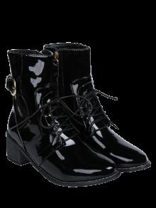 Buckle Patent Leather Combat Boots BLACK: Boots 39 | ZAFUL