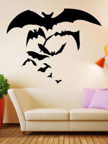 هالوين بات نمط للإزالة للماء غرفة الجدار ملصق - أسود