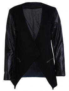 Open Front PU Leather Sleeve Trench Coat - Black 2xl