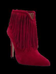 هامش الخامس-- شكل سستة أحذية الكاحل - أحمر غامق 40