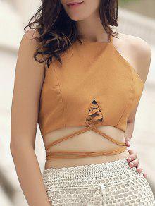 Buy Suede Lace Criss Cross Crop Top - BROWN XL