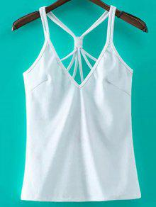 Solid Color Cut Out Spaghetti Straps Tank Top - White S
