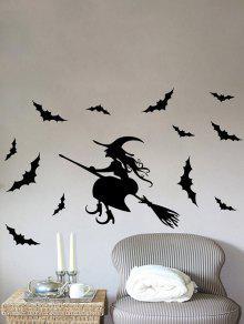 ماء سعيد هالوين الخفافيش ساحرة الفينيل ملصقات الحائط مخصص - أسود