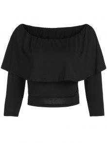 Buy Flouncing Shoulder Cropped T-Shirt - BLACK M