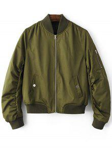 Zippered Sleeve Bomber Jacket - Army Green L