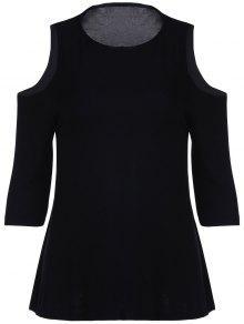 Cold Shoulder Round Collar 3/4 Sleeve Solid Color T-Shirt - Black L