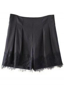 Empalme De Encaje Negro Pantalones Cortos De Cintura Alta - Negro S
