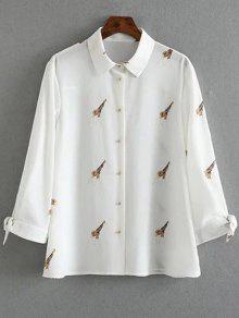 Tie-Up Giraffi Print White Shirt - White S