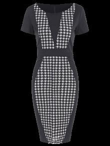 فستان رصاص دائرة الرقبة - أسود L