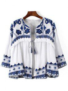 Blue And White Porcelain Blouse - Blue And White S