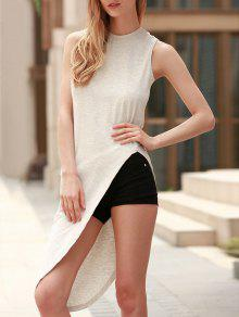 Sleeveless Asymmetrical T-Shirt - Gray M