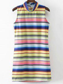 Colored Stripe Stand Neck Sleeveless Dress - Stripe S