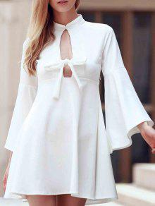 Flare Sleeve Cutout Swing Dress - White L