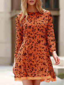 3/4 Sleeve Floral Print Flared Dress - Yellow M