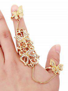 Anillos Mariposa Cristal - Dorado