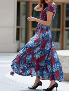 Pineapple Print Plunging Neck Short Sleeve Maxi Dress - Blue And Red Xl